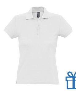 Polo shirt dames 4 knopen M wit bedrukken