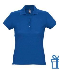 Polo shirt dames 4 knopen S blauw bedrukken