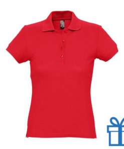 Polo shirt dames 4 knopen S rood bedrukken