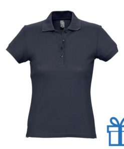 Polo shirt dames 4 knopen XL navy bedrukken