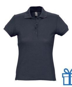 Polo shirt dames 4 knopen XL navy bedrukken