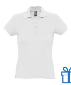 Polo shirt dames 4 knopen XL wit bedrukken