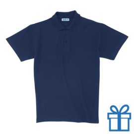 Polo unisex houtlook L navy bedrukken