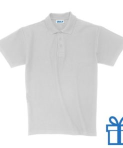 Polo unisex houtlook L wit bedrukken