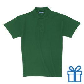 Polo unisex houtlook M groen bedrukken