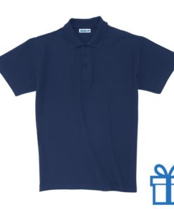 Polo unisex houtlook M navy bedrukken