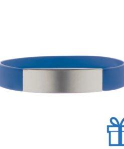 Polsband silicoon zilverplaat blauw bedrukken