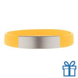 Polsband silicoon zilverplaat geel bedrukken