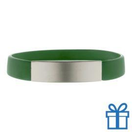 Polsband silicoon zilverplaat groen bedrukken