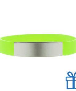 Polsband silicoon zilverplaat lichtgroen bedrukken