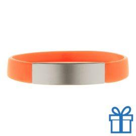 Polsband silicoon zilverplaat oranje bedrukken
