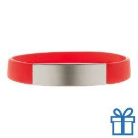 Polsband silicoon zilverplaat rood bedrukken