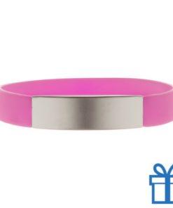 Polsband silicoon zilverplaat roze bedrukken