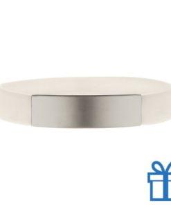 Polsband silicoon zilverplaat wit bedrukken