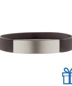 Polsband silicoon zilverplaat zwart bedrukken