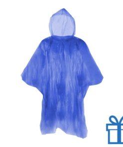 Poncho doorzichtig hersluitbaar blauw bedrukken