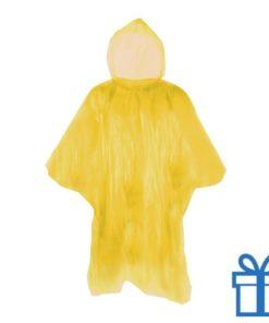 Poncho doorzichtig hersluitbaar geel bedrukken