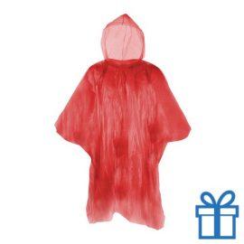 Poncho doorzichtig hersluitbaar rood bedrukken