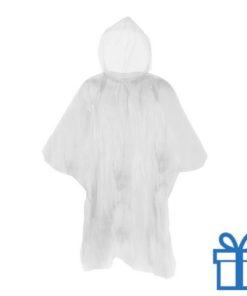 Poncho doorzichtig hersluitbaar wit bedrukken