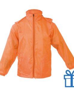 Regenjack M-L oranje bedrukken
