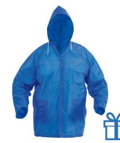 Regenjas capuchon blauw bedrukken