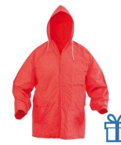 Regenjas capuchon rood bedrukken