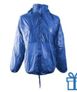 Regenjas opvouwbaar M-L blauw bedrukken