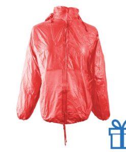 Regenjas opvouwbaar M-L rood bedrukken