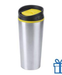 Reisbeker thermo 540ml geel bedrukken