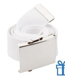Riem polyester 110cm metaal gesp wit bedrukken