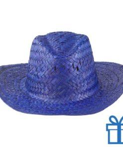 Rieten hoed unisex blauw bedrukken