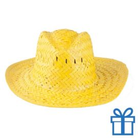 Rieten hoed unisex geel bedrukken