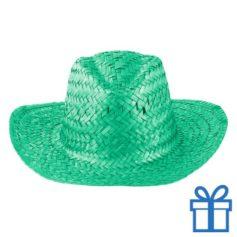 Rieten hoed unisex groen bedrukken