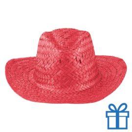 Rieten hoed unisex rood bedrukken