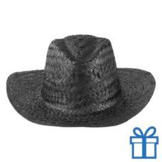 Rieten hoed unisex zwart bedrukken