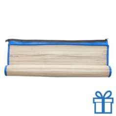 Rieten strandmat draagtas blauw bedrukken