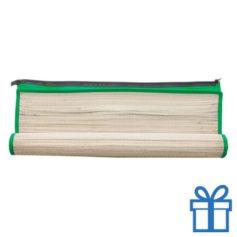 Rieten strandmat draagtas groen bedrukken