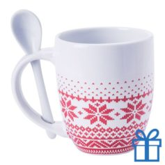 Rode kerstmok design lepel 400ml bedrukken