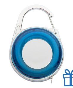 Rolbandmaat sleutelhanger karabijnhaak blauw bedrukken