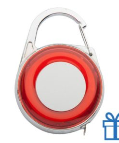 Rolbandmaat sleutelhanger karabijnhaak rood bedrukken