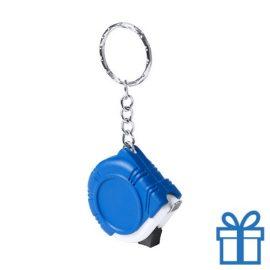Rolmaat plastic sleutelhanger blauw bedrukken