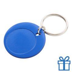 Ronde sleutelhanger aluminium blauw bedrukken