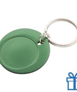 Ronde sleutelhanger aluminium groen bedrukken