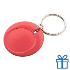 Ronde sleutelhanger aluminium rood bedrukken