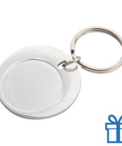 Ronde sleutelhanger aluminium zilver bedrukken