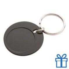 Ronde sleutelhanger aluminium zwart bedrukken