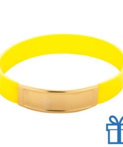 Siliconen armband kleur geel bedrukken
