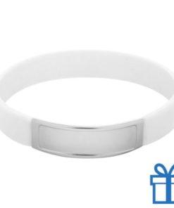 Siliconen armband kleur wit bedrukken