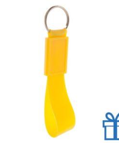 Siliconen sleutelhanger  geel bedrukken
