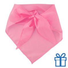 Sjaal polyester driehoek roze bedrukken